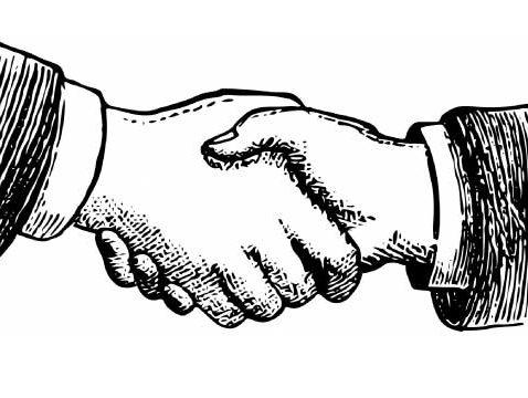 Handshake sketch, for A Super Salesman post at Seattle Commercial Real Estate LLC