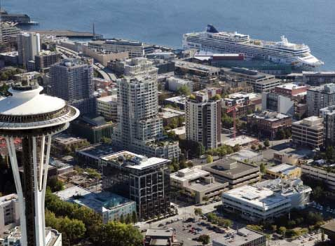 Seattle, from the Space Needle to the cruise ship pier.