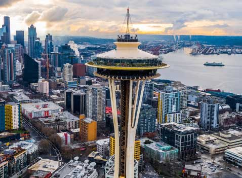 The Space Needle, a symbol of Seattle, in a post about reopening Seattle's economy